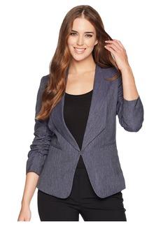 Tahari Shawl Collar Ruched Sleeve Jacket