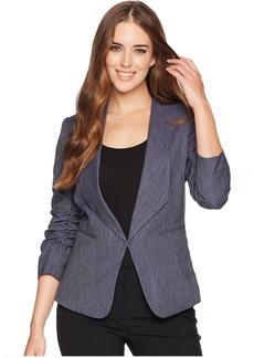 Shawl Collar Ruched Sleeve Jacket
