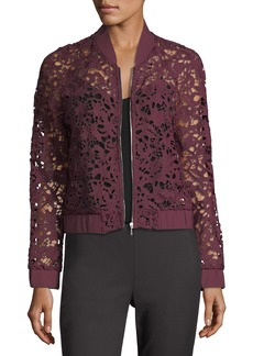 Tahari Sheer Lace Bomber Jacket