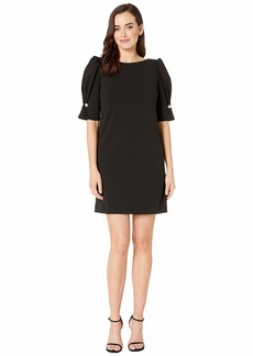 Tahari Short Puff Sleeve Stretch Crepe Dress