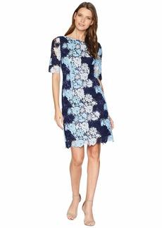 Tahari Short Sleeve Chemical Lace Dress