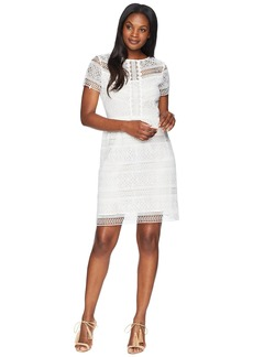 Tahari Short Sleeve Chemical Lace Fit and Flare Dress