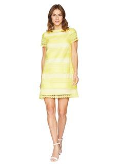 Tahari Short Sleeve Chemical Lace Sheath Dress
