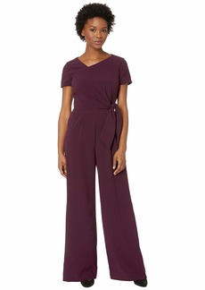 Tahari Short Sleeve Crepe Jumpsuit with Asymmetrical Neckline