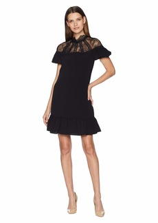 Tahari Short Sleeve Crepe/Lace Shift with High Neckline