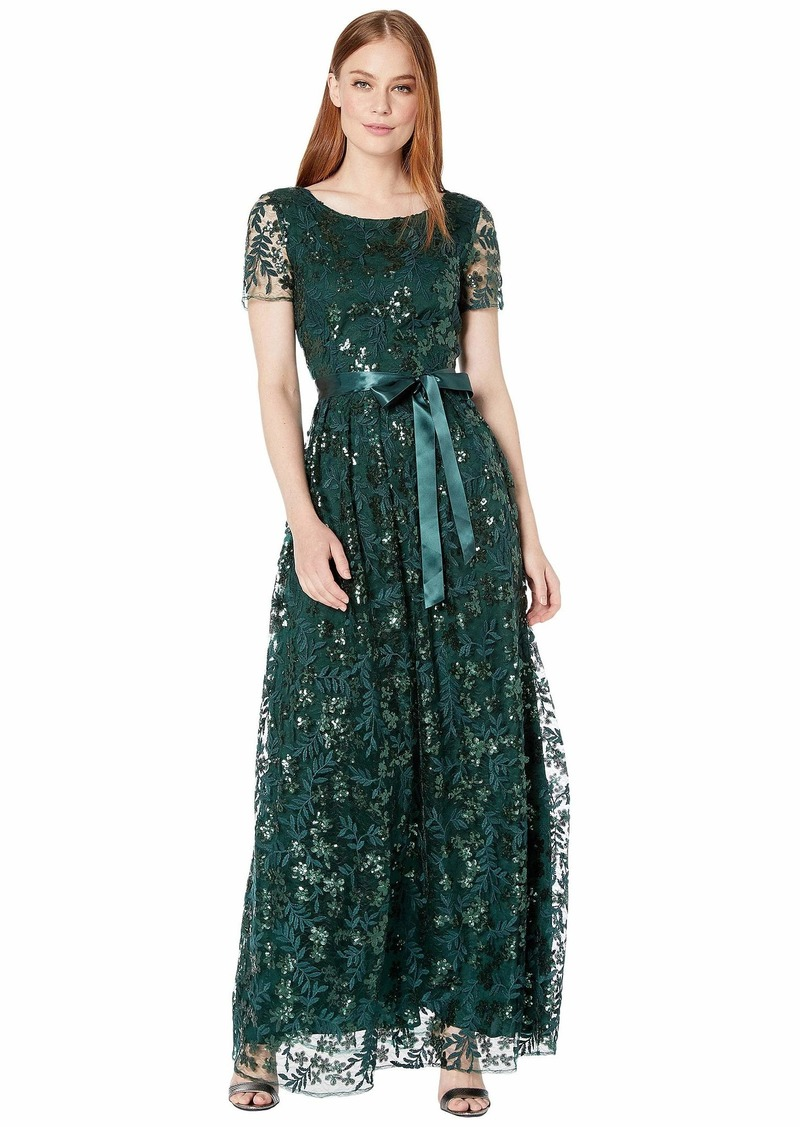 Tahari Short Sleeve Embroidered Lace Gown with Ribbon Sash