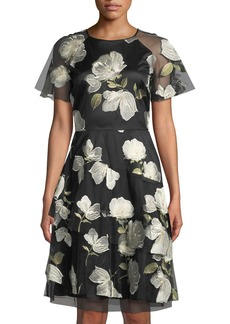 Tahari Short-Sleeve Floral-Embroidered Mesh Dress