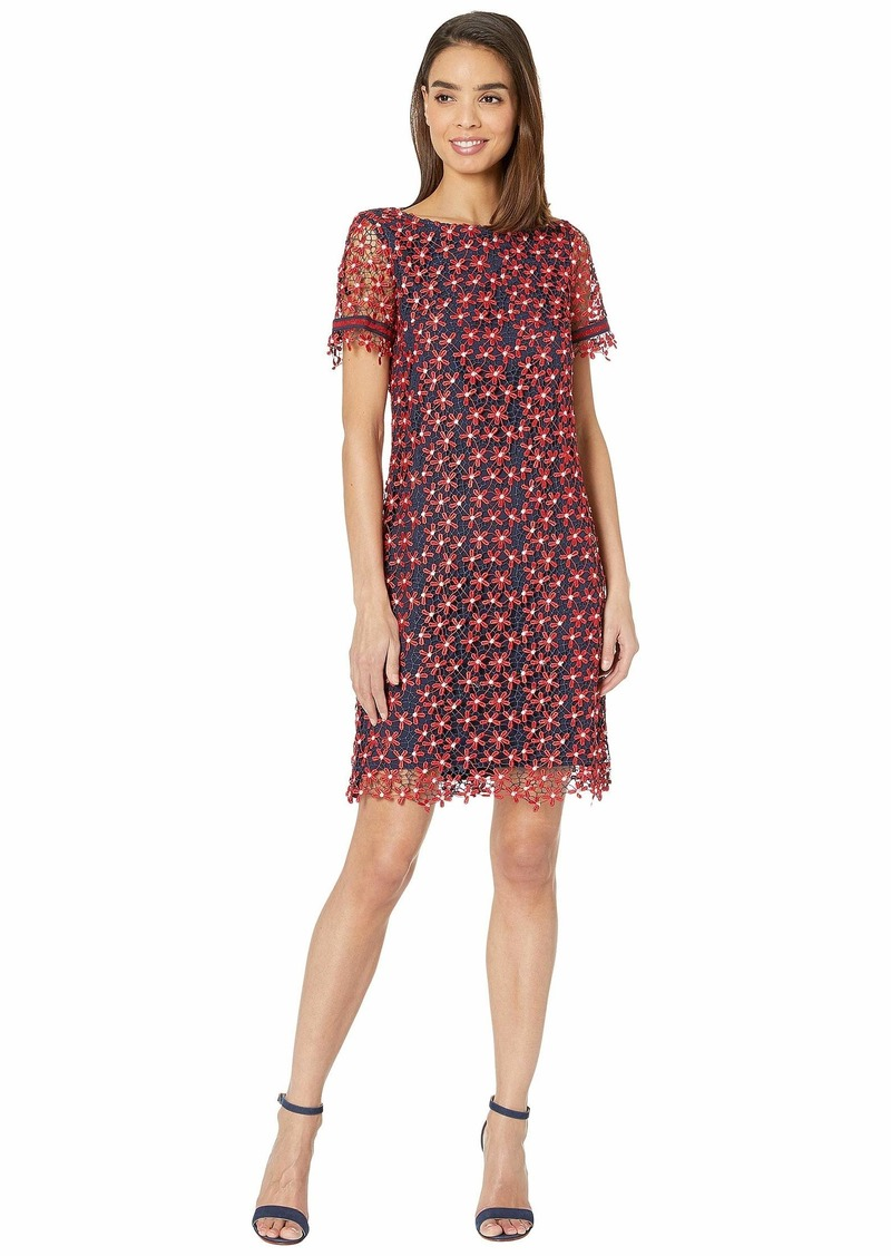Tahari Short Sleeve Lace Floral Dress