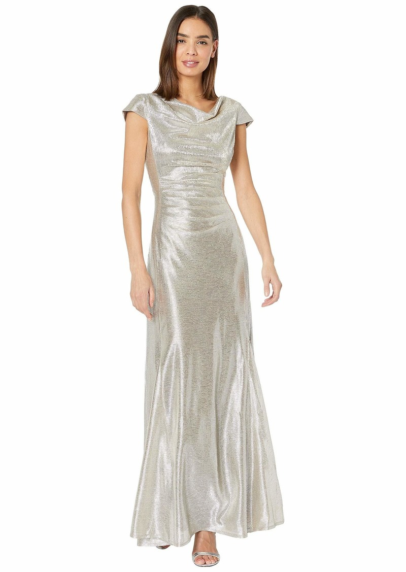 Tahari Short Sleeve Metallic Gown with Draped Neck and Soft Ruched Bodice