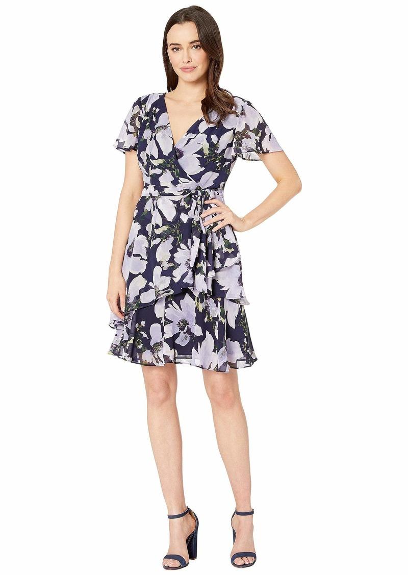 Tahari Short Sleeve Side Tie Printed Chiffon Dress