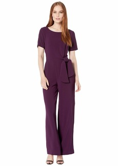 Tahari Short Sleeve Stretch Crepe Jumpsuit with Side Tie Detail