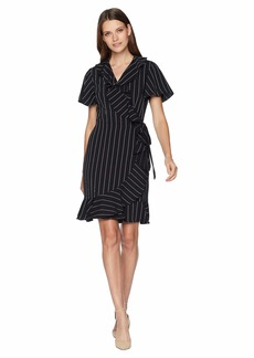 Tahari Short Sleeve Stripe Smooth Crepe Wrap Dress