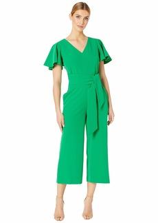 Tahari Short Sleeve Wrap Front Crepe Jumpsuit