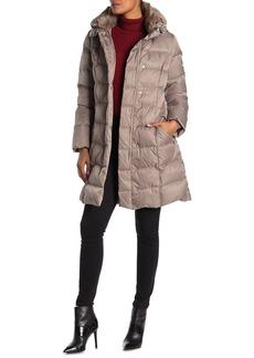 Tahari Sia Faux Fur Trim Puffer Coat