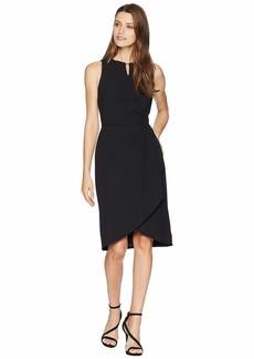 Tahari Side Drape Notch Neck Dress