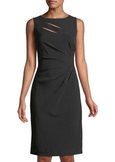 Tahari Side-Ruched Cutout Sheath Dress