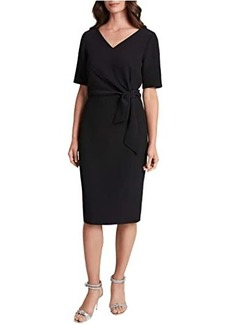 Tahari Side Tie Stretch Crepe Short Sleeve Dress