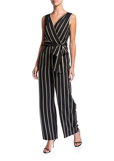 Tahari Side-Tie Striped Sleeveless Jumpsuit