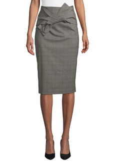 Tahari Sky Glen-Check Bow-Waist Midi Skirt
