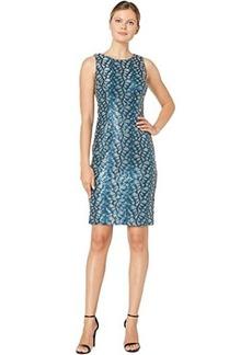 Tahari Sleeveless All Over Sequin Vine Sheath Dress