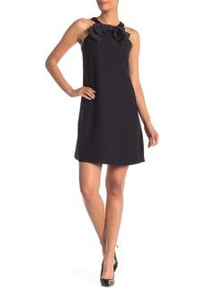 Tahari Sleeveless Bow Applique High Neck Dress