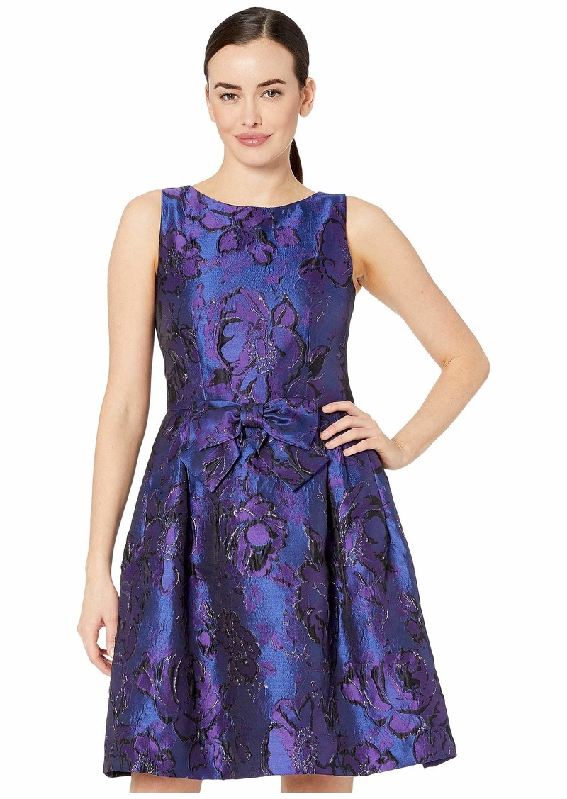 Tahari Sleeveless Bow Front Printed Jacquard Party Dress