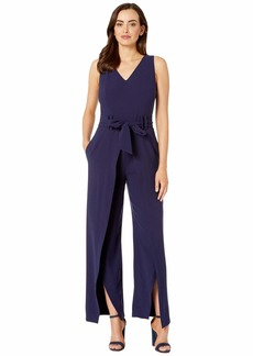 Tahari Sleeveless Crepe V-Neck Jumpsuit w/ Split Leg