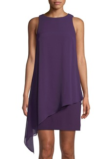 Tahari Sleeveless Draped Chiffon Dress
