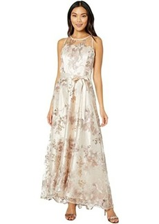 Tahari Sleeveless Embroidered Halter Long Gown