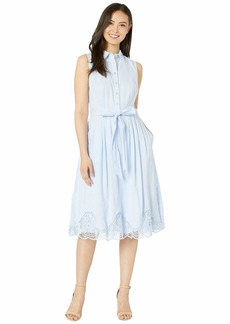 Tahari Sleeveless Embroidered Hem Shirtdress