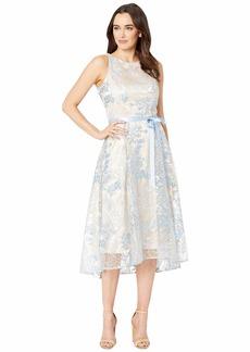 Tahari Sleeveless Embroidered High-Low Dress
