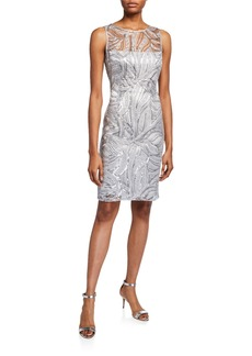 Tahari Sleeveless Embroidered Mesh Cocktail Dress