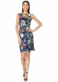 Tahari Sleeveless Embroidered Mesh Floral Dress