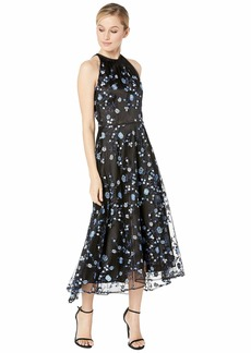 Tahari Sleeveless Embroidered Midi Mesh Dress