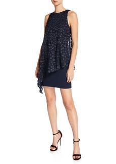 Tahari Sleeveless Embroidered Overlay Dress