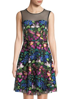 Tahari Sleeveless Floral-Embroidered Mesh Fit-&-Flare Dress