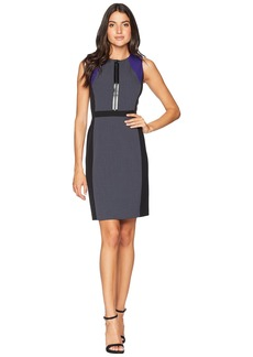 Tahari Sleeveless Front Zip Dress