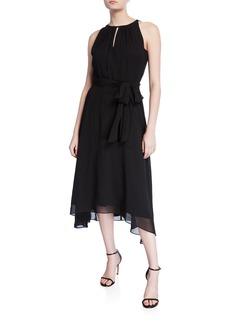 Tahari Sleeveless Halter Chiffon High-Low Dress