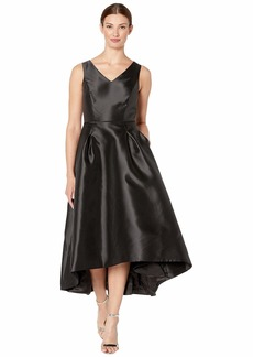 Tahari Sleeveless Mikado High-Low w/ V-Neckline