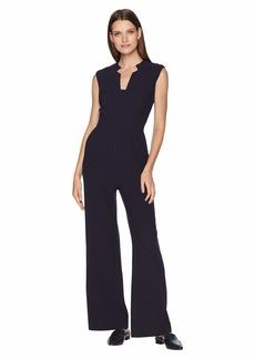 Tahari Sleeveless Pinstripe Crepe Jumpsuit with Star Neckline