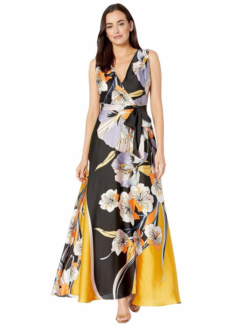 Tahari Sleeveless Printed Charmeuse Gown