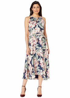 Tahari Sleeveless Printed Floral Keyhole Neck Dress w/ High-Low Hem Line