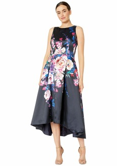 Tahari Sleeveless Printed Floral Mikado High-Low Hemline