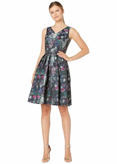 Tahari Sleeveless Printed Jacquard Floral Dress