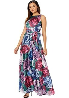 Tahari Sleeveless Printed Satin Shimmer Maxi Dress with Self Tie Waist