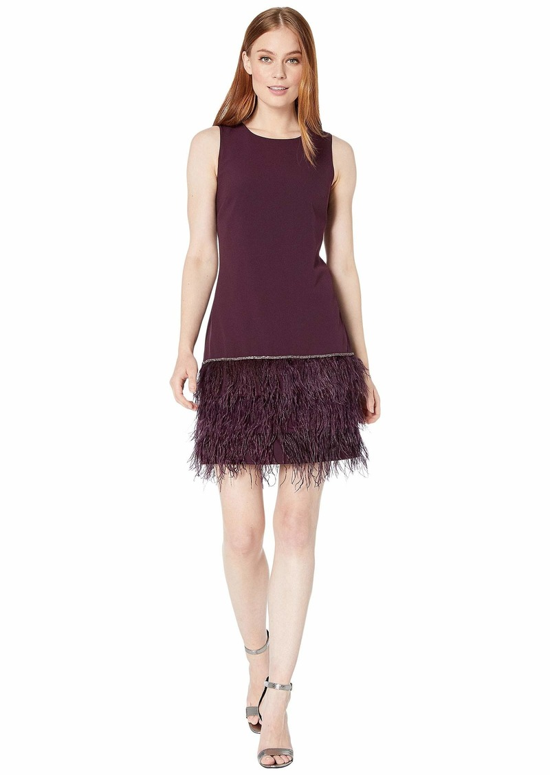 Tahari Sleeveless Stretch Crepe Cocktail Dress with Feather Hemline