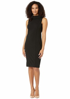 Tahari Sleeveless Stretch Crepe Sheath Dress with Envelope Collar