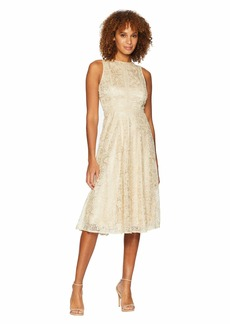Tahari Sleeveless Tea Length Novelty Embroidery Fit and Flare