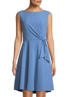 Tahari Sleeveless Tie-Side Fit-&-Flare Crepe Dress