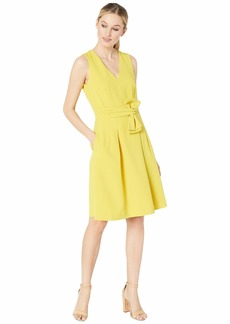 Tahari Sleeveless V-Neck Bow Waist Dress